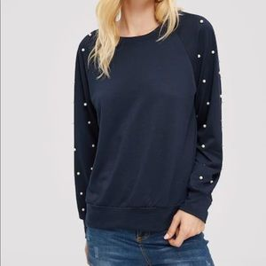Pearl Embellished Long Sleeves Pullover Sweater